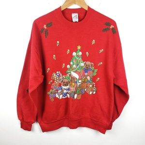 Vintage Jerzees | Red Christmas Holiday Sweater XL